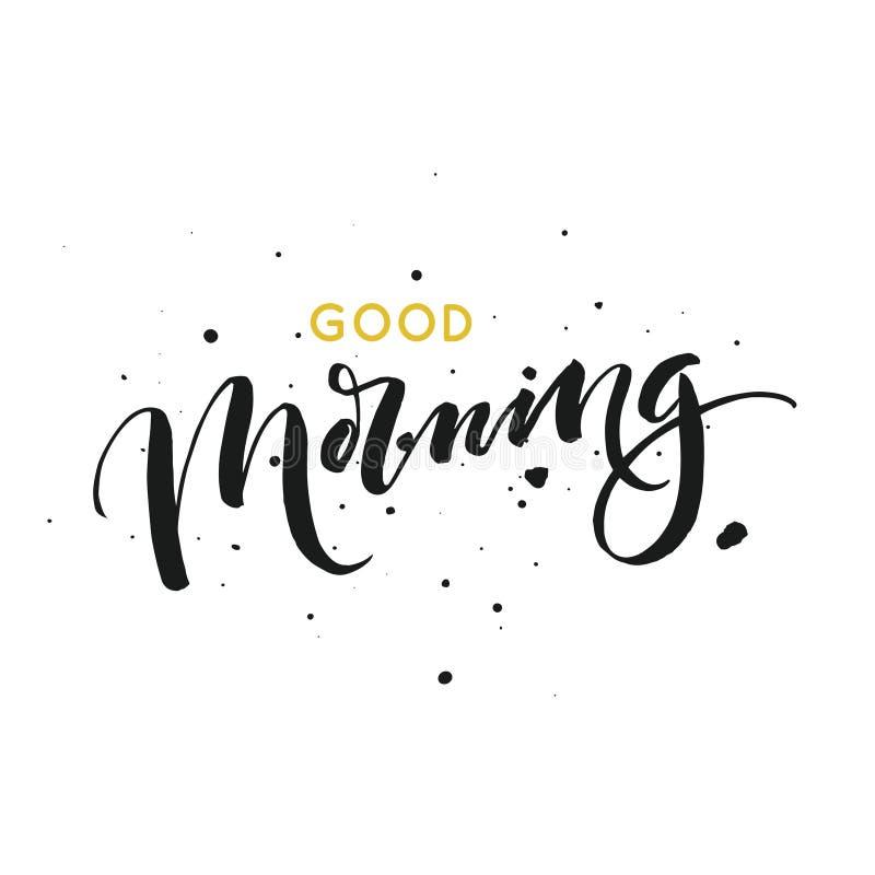 Good morning card. Modern brush calligraphy royalty free stock images