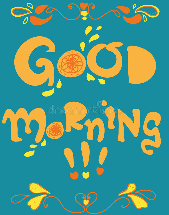 Good morning cartoon card vector illustration