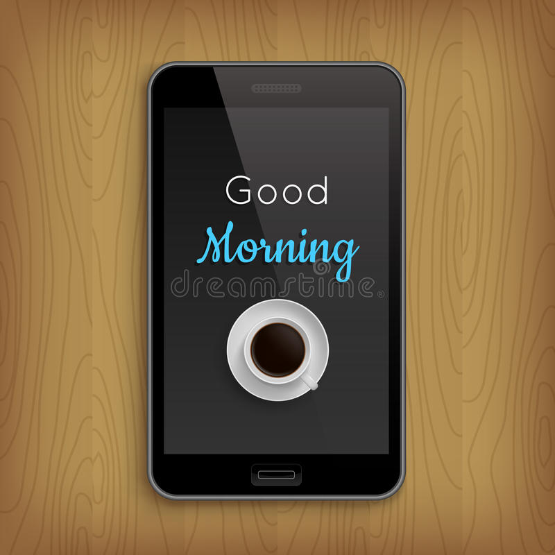 Good morning with coffee cup in phone royalty free illustration