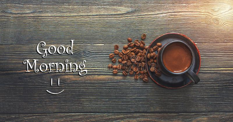 Good morning coffee cup on wooden background Stock Photo stock images