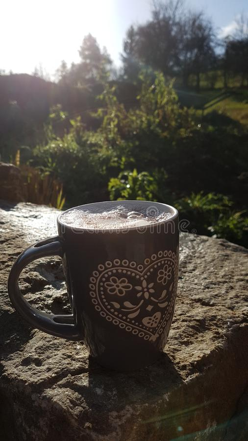 Good Morning Coffee. In the Garden royalty free stock photography