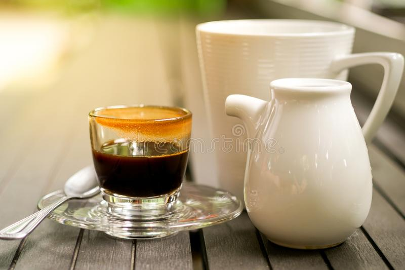 Good morning coffee. With milk glass royalty free stock photography