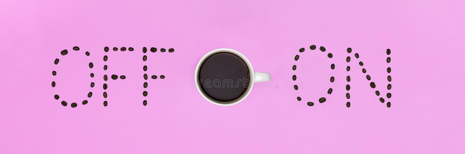 Good Morning Coffee Pastel Coloured Flat Lay. Conceptual Motivation. Cup Of Coffee. royalty free stock photos