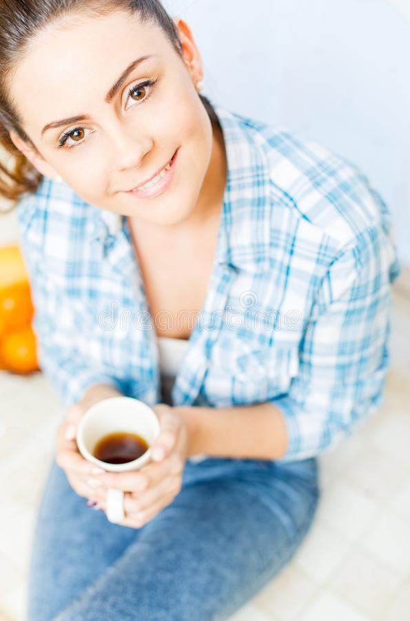 Good morning with coffee. Portrait of a beautiful lady with coffee royalty free stock photo