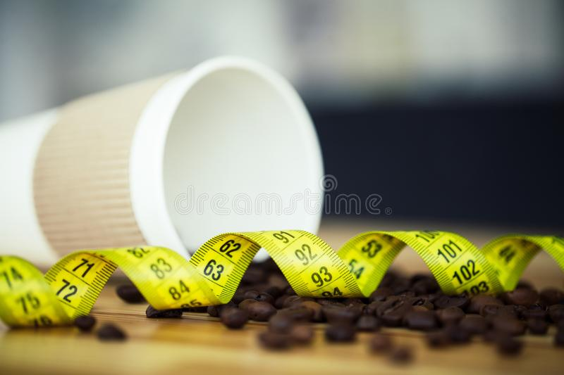 Good Morning. Coffee Time. Coffee to go and beans on a wooden ba. Ckground stock images
