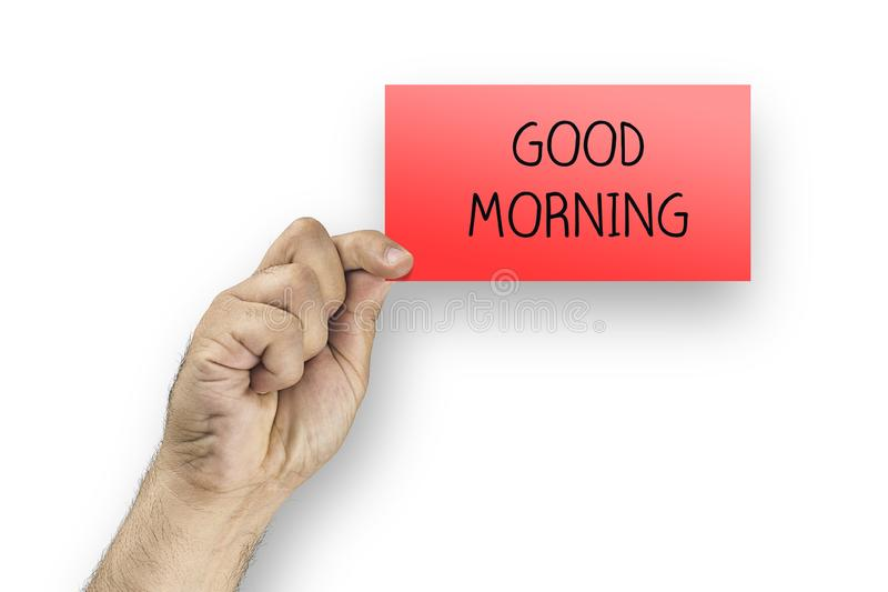 Man holding red card with text good morning royalty free stock photos