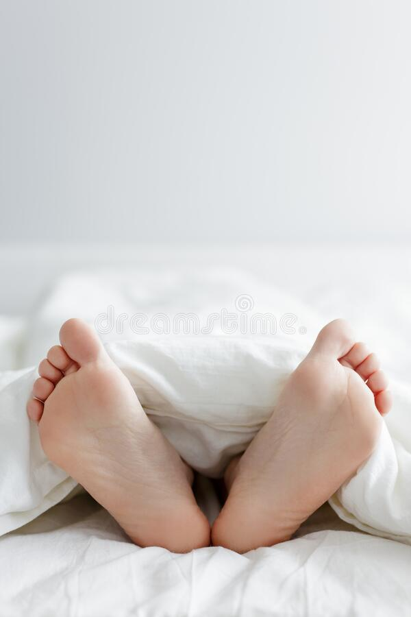 Good morning concept - close up of female legs sticking out from the blanket and copy space over white royalty free stock image