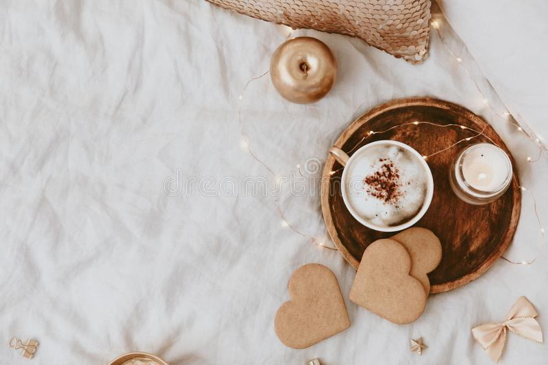 Good Morning. Cozy Still Life background with coffee cup and cookies. Flat Lay. Copy Space royalty free stock image