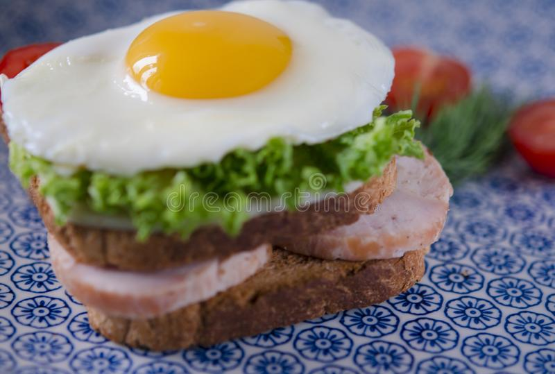 Sandwich with egg, ham, cheese, toast and salad leaves lies on a plate with tomato and dill stock photos