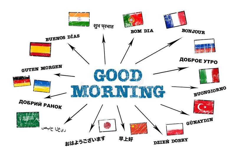 Good Morning Different Languages And National Flags Concept Stock Illustration Illustration Of Internet Germany 183229893