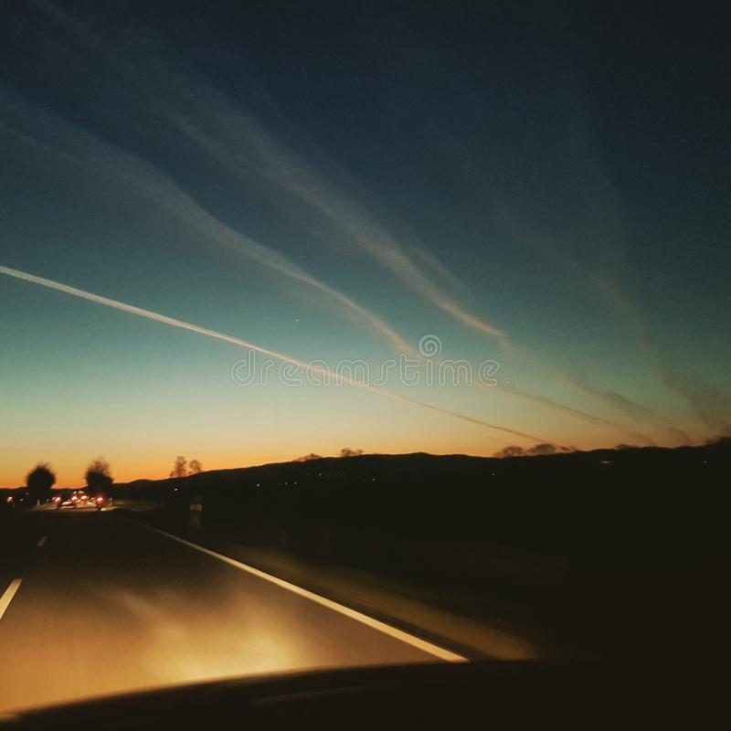Good Morning drive. Good Morning Clouds stock photography