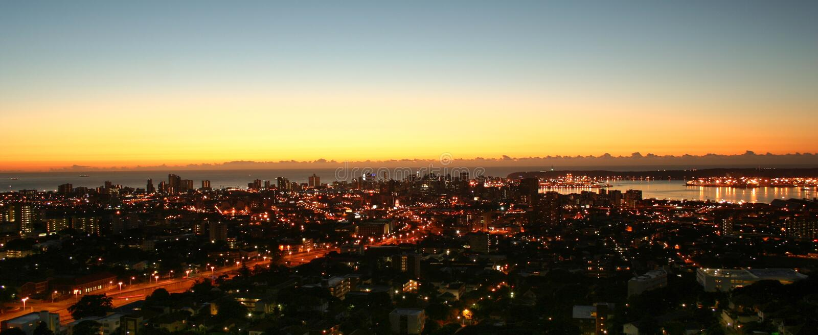 Good morning Durban. Sun rise over Durban City, South Africa stock photos