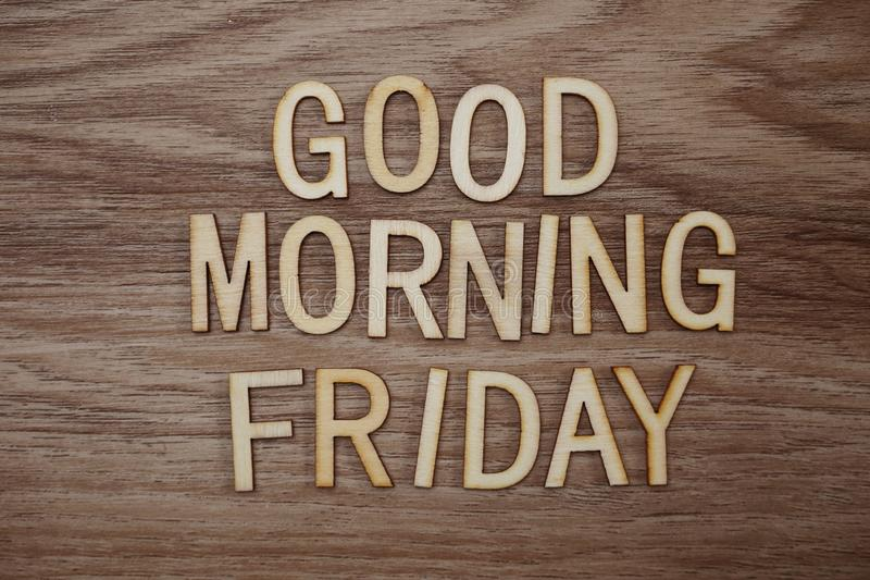 Good Morning Friday text message on wooden background royalty free stock photos