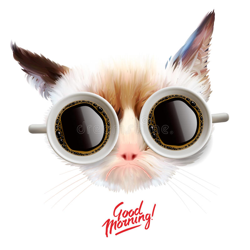 Good morning. Funny cat with cups of coffee. Glasses, vector illustration