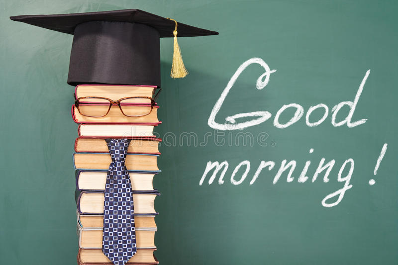Good morning!. Funny education concept royalty free stock photo