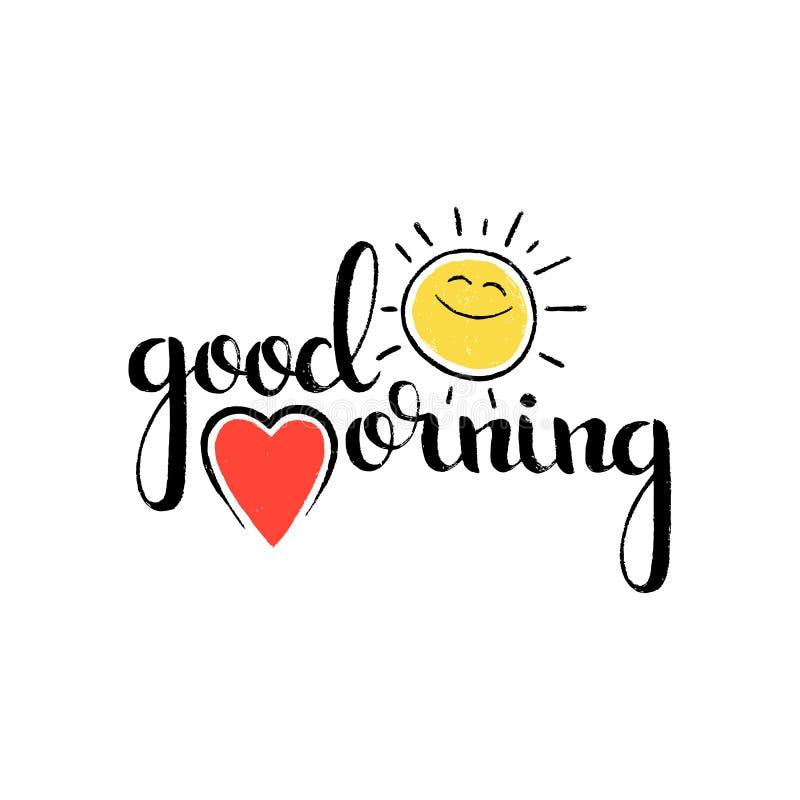 Good morning handwritten lettering vector illustration