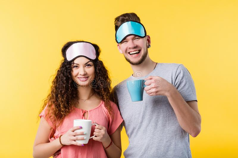 Good morning happy young couple relationship stock photo