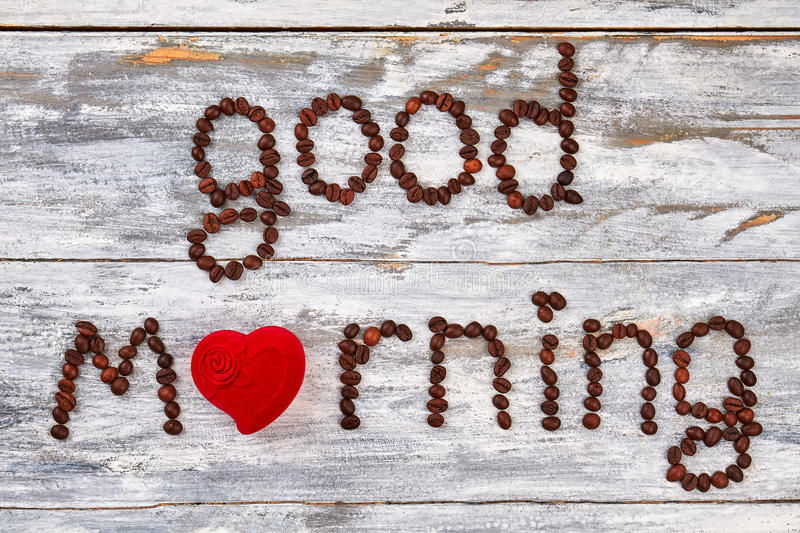 Good morning from heart. Lovely coffee decoration, wooden table stock photo