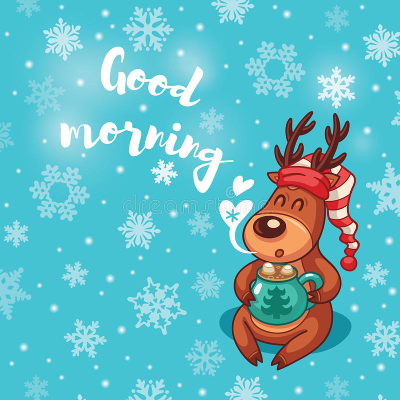 Good morning holiday card with cute cartoon deer in nightcap stock download good morning holiday card with cute cartoon deer in nightcap stock vector illustration m4hsunfo