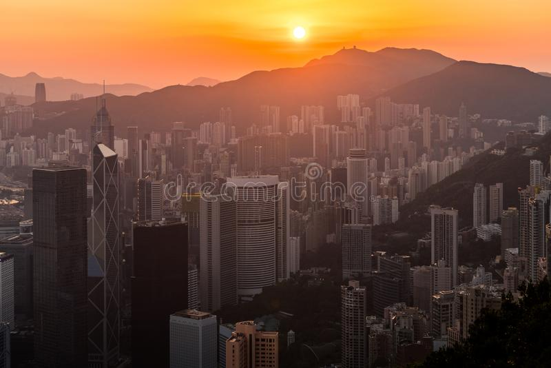 Good morning Hong Kong. Sunrise in Hongkong, China with cityspace. Good morning Hong Kong. Sunrise in Hongkong, China, with cityspace royalty free stock photos