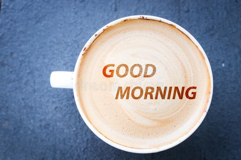 Good morning and hot coffee. In the morning royalty free stock photo