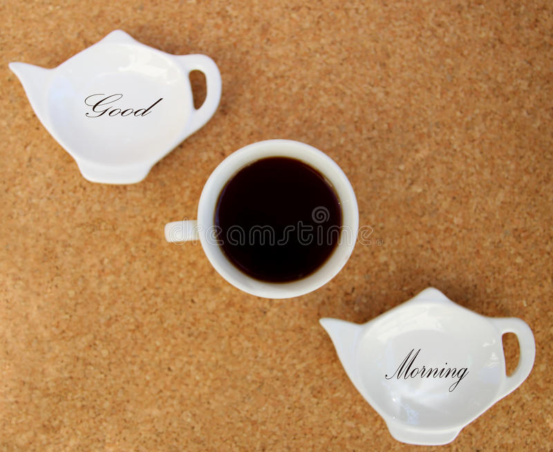 Good Morning. With hot coffee stock photo