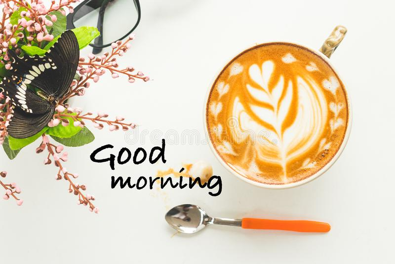 Good morning and hot coffee in the morning. Latte art royalty free stock images
