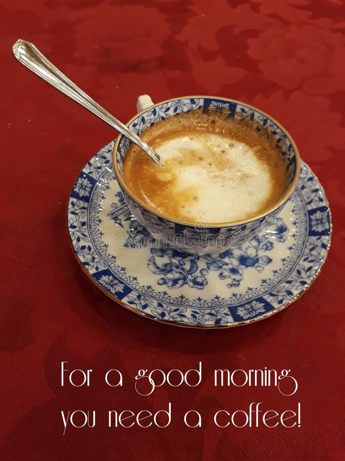 Good morning with a hot coffee. For a good morning you need a hot coffee, better in a beautiful porcelain cup!  Sugar stock image