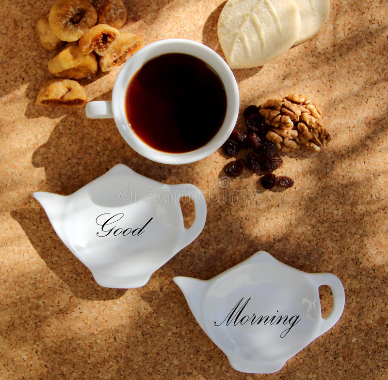 Good Morning. With hot tea royalty free stock images