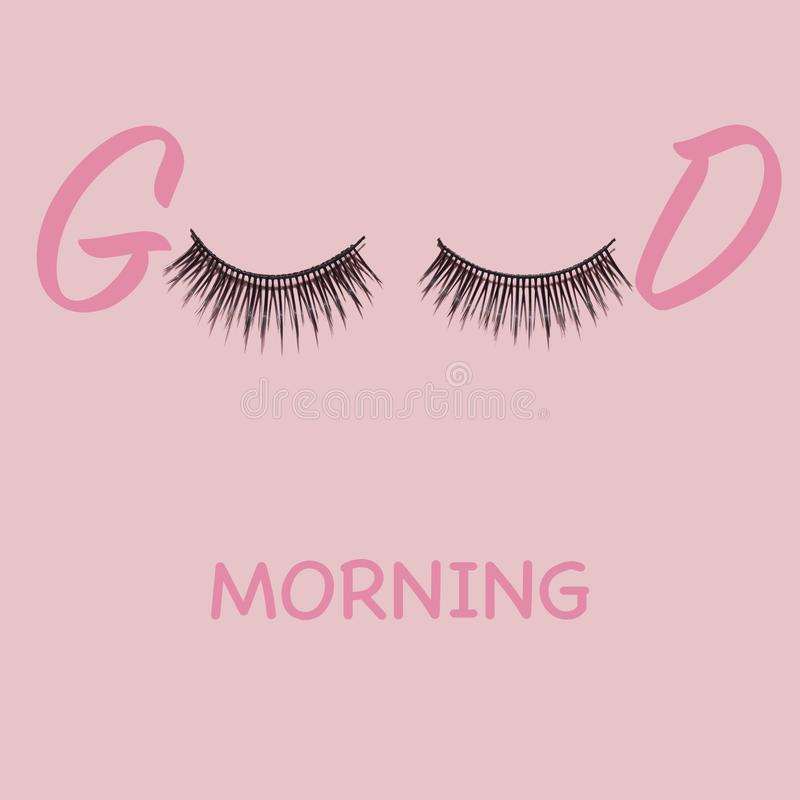 Good morning lashes. Creative concept beauty photo of lashes extensions brush good morning on pink background stock images