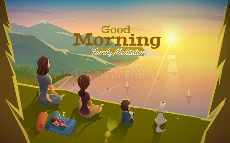 Good morning, lets meditation with family vector illustration
