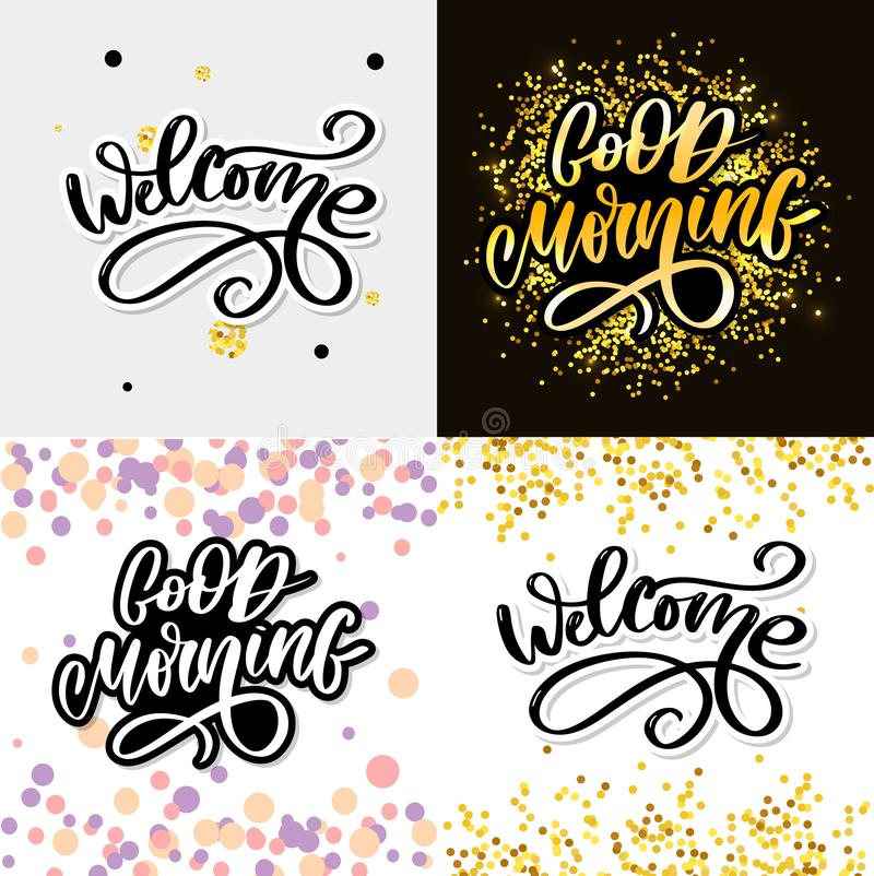 Good Morning lettering text slogan calligraphy black. Good Morning lettering text slogan calligraphy, typography, font, type, background, card, design, phrase royalty free stock photography