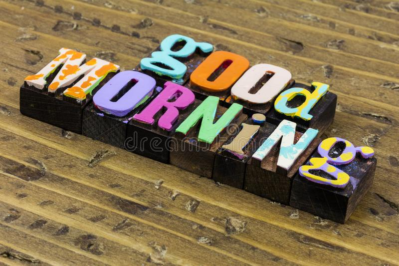 Good morning love beautiful world happy sunshine greeting wake up royalty free stock image