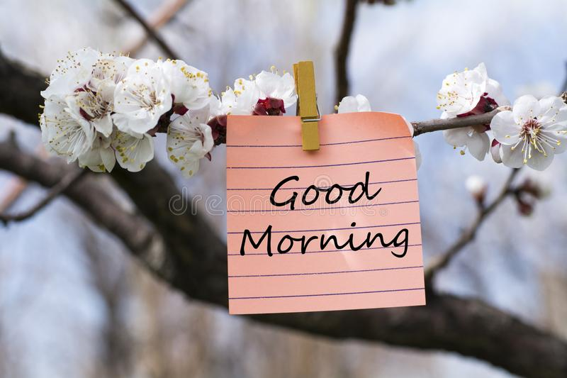 Good morning in memo stock image