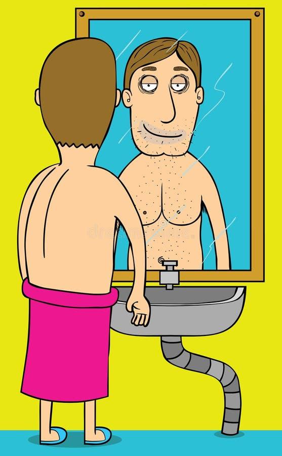 Good morning Mirror. A naked man mirroring in the morning