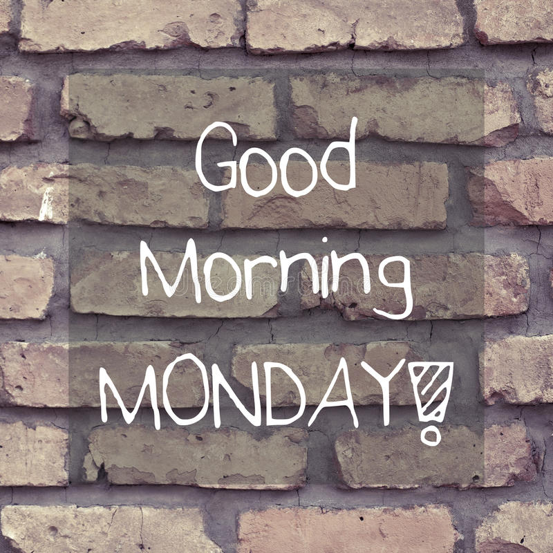 Good Morning Monday / Inspirational Background Design. Good morning monday note message background poster typography design stock photography