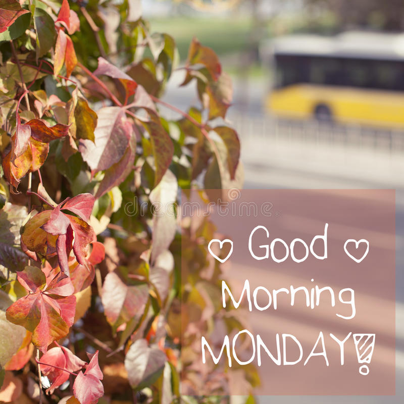Good Morning Monday / Inspirational Background Design. Typographic background note message good morning monday royalty free stock photography