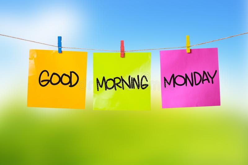 Good Morning Monday. Motivational inspirational quotes words. Colorful Paper with blurred background stock photography