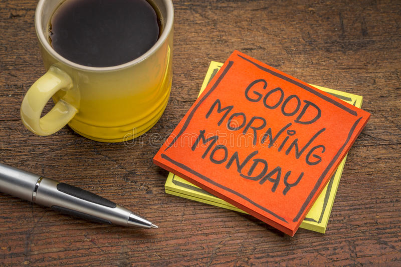 Good morning Monday note with coffee royalty free stock photo