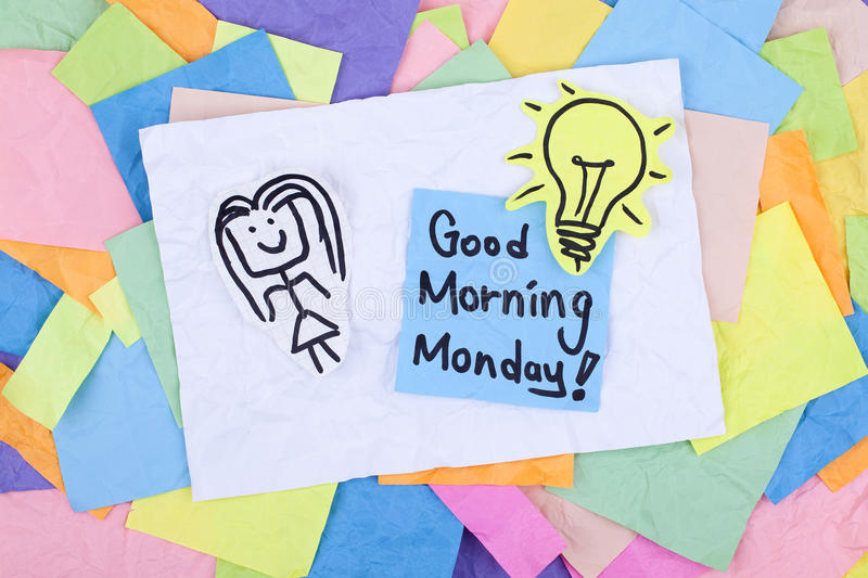 Good Morning Monday Note. Good morning monday message note royalty free stock photos