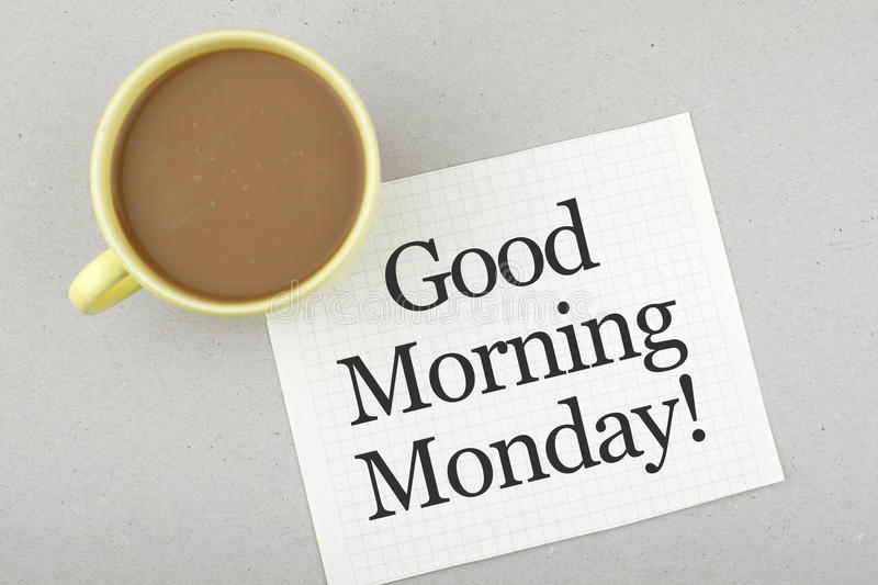 Good Morning Monday Note royalty free stock photo