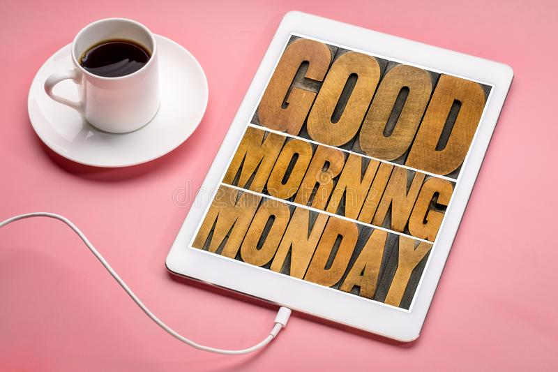 Good Morning Monday on tablet stock photography