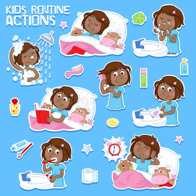 Sweet little black girl with dark brown hair and her daily routine actions stock illustration