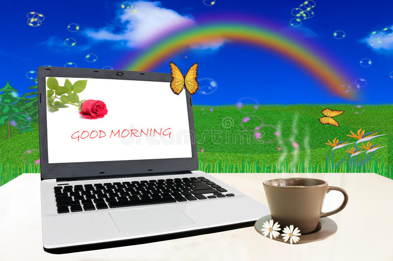 Good Morning,. Notebook on white table with Good Morning royalty free stock photos