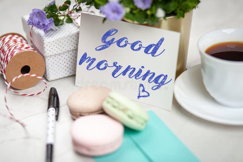 Good Morning postcard. On white marble table stock photos