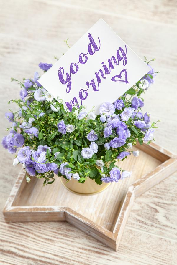Good Morning postcard. On white marble table royalty free stock images