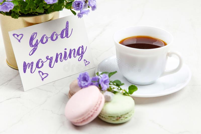 Good Morning postcard. On white marble table royalty free stock photo