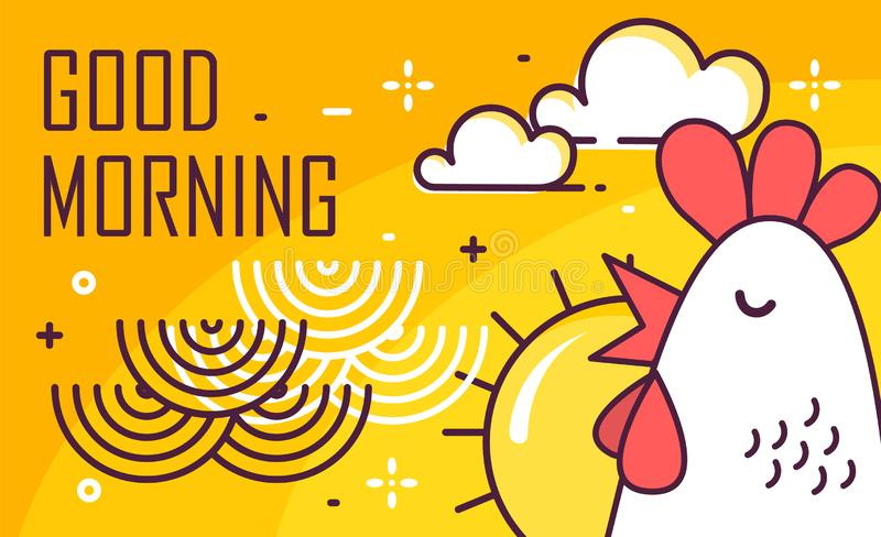 Good Morning poster with rooster, sun and waves on yellow background. Thin line flat design. Vector.  vector illustration