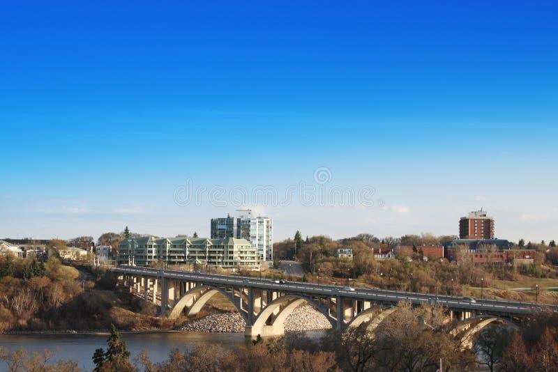 Good Morning Saskatoon. The city of Saskatoon, Saskatchewan, Canada. A morning view of the Victoria Bridge in early spring royalty free stock image