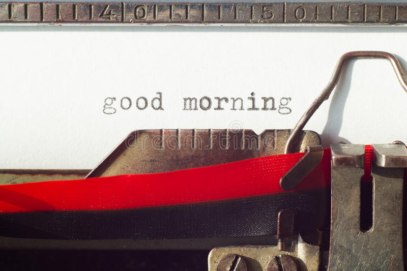 Good morning sign on old tywriter machine stock images